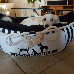Hundeschiffchen schwarz/weiß Größe M